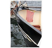 Red and white striped top drying onboard ship, Brest Maritime Festival 2008, France Poster