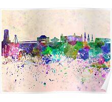 Bratislava skyline in watercolor background Poster