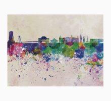 Bratislava skyline in watercolor background Kids Tee