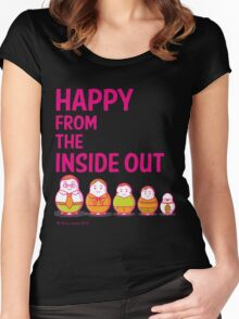 Happy from the inside out Women's Fitted Scoop T-Shirt