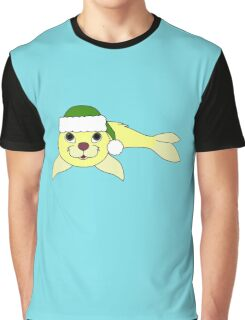 Light Yellow Baby Seal with Christmas Green Santa Hat Graphic T-Shirt