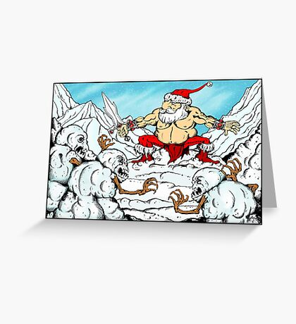 Santa V. The Savage Snowmen Greeting Card