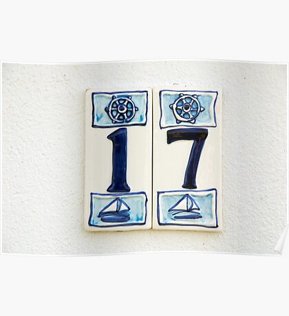 Nautical number seventeen house sign with ships wheel and yachts, Le Conquet, Brittany, France Poster