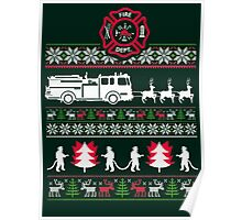 CHRISTMAS FIREFIGHTER UGLY SWEATER Poster