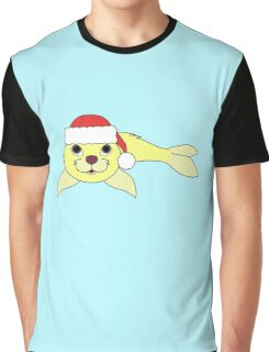 Light Yellow Baby Seal with Christmas Red Santa Hat Graphic T-Shirt