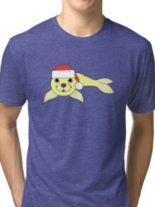Light Yellow Baby Seal with Christmas Red Santa Hat Tri-blend T-Shirt