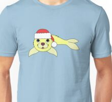 Light Yellow Baby Seal with Christmas Red Santa Hat Unisex T-Shirt