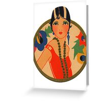 Roaring 20's Flapper in a Red Dress Greeting Card
