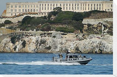 The Naval Escort Passes Alcatraz by Barrie Woodward