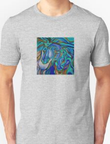Wild  Horses In Brown and Teal T-Shirt