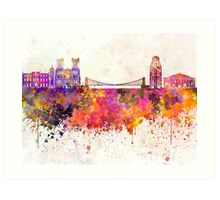 Bristol skyline in watercolor background Art Print