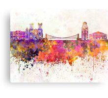 Bristol skyline in watercolor background Metal Print