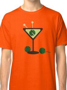 Martini glass knitting needles yarn Classic T-Shirt