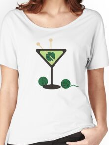 Martini glass knitting needles yarn Women's Relaxed Fit T-Shirt