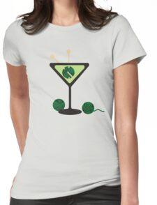 Martini glass knitting needles yarn Womens Fitted T-Shirt