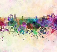 Budapest skyline in watercolor background by paulrommer