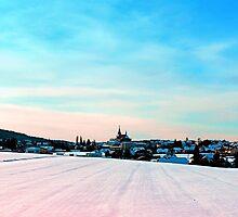 Village scenery in winter wonderland by Patrick Jobst