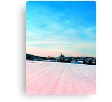 Village scenery in winter wonderland Canvas Print