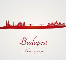 Budapest skyline in red by paulrommer
