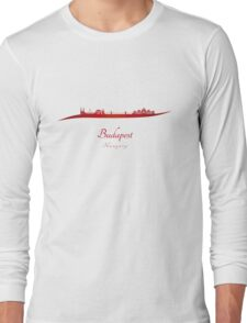 Budapest skyline in red Long Sleeve T-Shirt