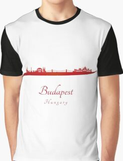 Budapest skyline in red Graphic T-Shirt