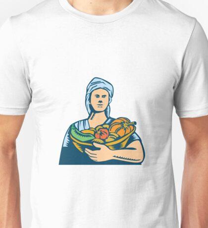 Lady Organic Farmer Produce Harvest Woodcut Unisex T-Shirt