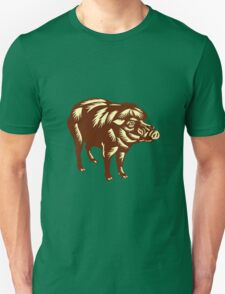 Philippine Warty Pig Woodcut T-Shirt