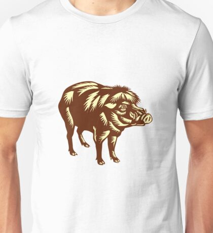 Philippine Warty Pig Woodcut Unisex T-Shirt