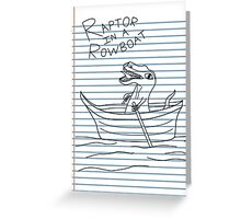 Looseleaf Raptor In A Rowboat Greeting Card
