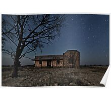 Booleroo North Abandoned Homestead in Moonlight Poster