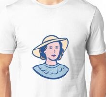 Woman Wearing Hat Isolated Retro Unisex T-Shirt