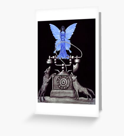 Telephone Fairy pen ink surreal drawing Greeting Card
