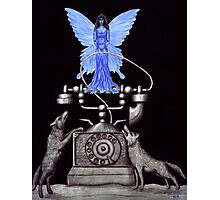 Telephone Fairy pen ink surreal drawing Photographic Print