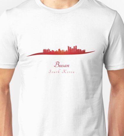 Busan skyline in red Unisex T-Shirt