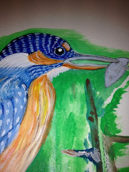 """Kingfisher says, """" I am the ful in beautiful""""#2 by Nora Fraser"""