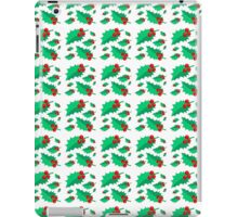 Vintage Christmas red green holly floral pattern  iPad Case/Skin