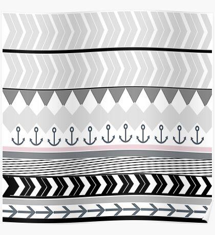 Gray black pink stripes anchors chevron pattern  Poster