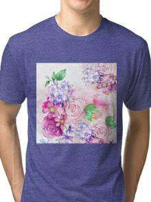 Vintage elegant pink watercolor trendy flowers Tri-blend T-Shirt