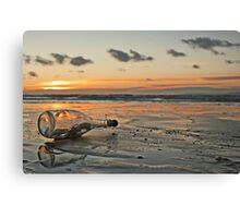 Message in a Bottle Sunset Canvas Print