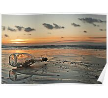Message in a Bottle Sunset Poster