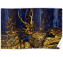 Electric Blue Deer. Poster
