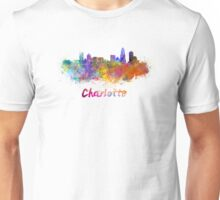 Charlotte skyline in watercolor Unisex T-Shirt