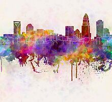 Charlotte skyline in watercolor background by paulrommer