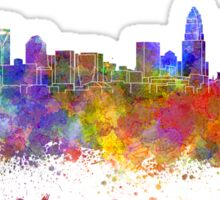 Charlotte skyline in watercolor Sticker