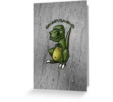 Grumpy green dinosaur in a bad mood Greeting Card