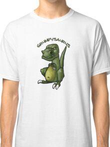 Grumpy green dinosaur in a bad mood Classic T-Shirt