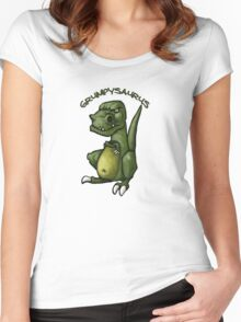 Grumpy green dinosaur in a bad mood Women's Fitted Scoop T-Shirt