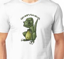 Grumpy green dinosaur in a bad mood Unisex T-Shirt