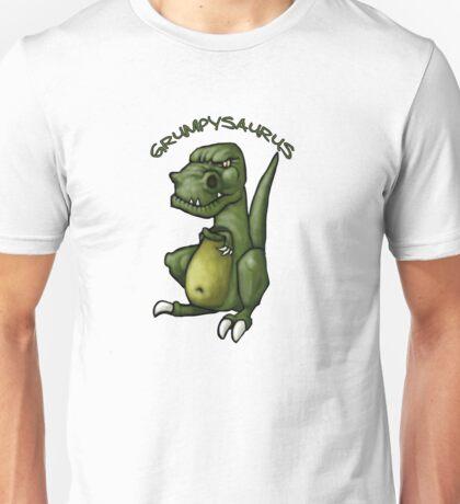 Grumpy green dinosaur in a bad mood Unisex T-Shirt