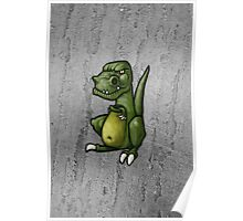 Very grumpy green dinosaur in a mood Poster